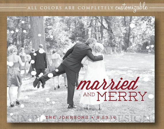 Photo Holiday Christmas Card Married Christmas Wedding Thank You Printable Wedding Wedding Christmas Wedding Christmas Cards