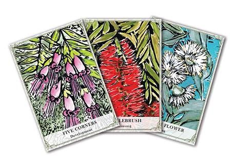 Australian Wildflower Reading Cards consist of 44 cards and a guidebook that provides guidance through native Australian Wildflower imagery and oracle teachings. The artwork is uniquely created by Cheralyn Darcey on linocut with traditional gouache paints. The guidebook features unique flower spreads for readings and a special card of the day instructions that will delight those that love beautiful oracle tools and traditional artwork.  www.cheralyndarcey.com