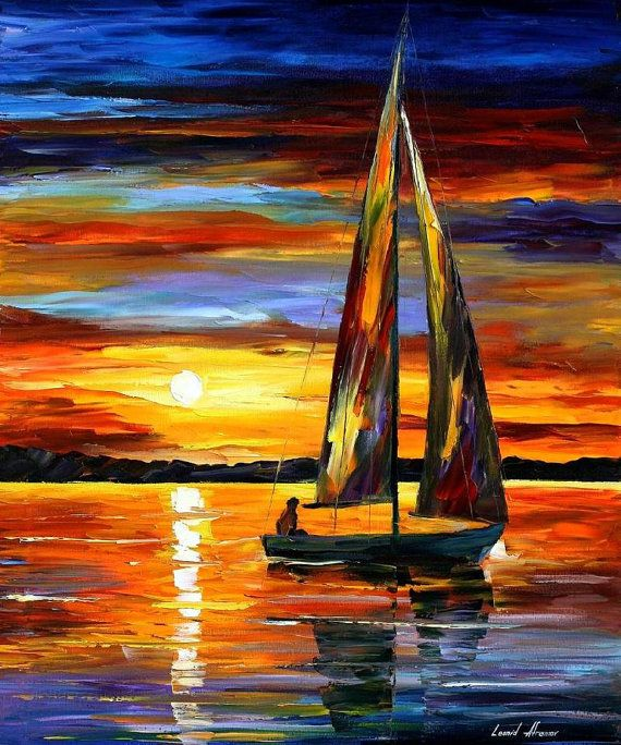 Sailing By The Shore — PALETTE KNIFE Oil Painting On Canvas by Leonid Afremov, $199.00