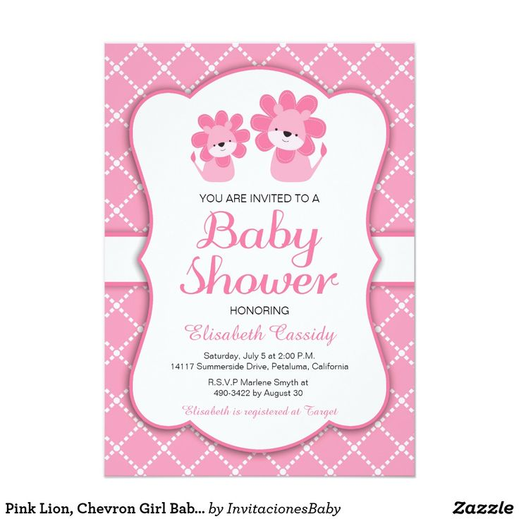 Pink Lion, Chevron Girl Baby Shower Invitation