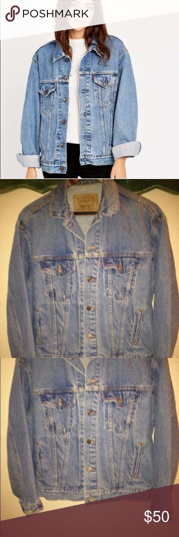 Levi's oversized boyfriend style jacket Worn only a couple times. Medium denim wash boyfriend fit jacket. Perfect staple piece to have in closet can be layered with tees or dresses. Fits a ladies S/M like the photo. Purchased from Urban Outfitters retail $98 still listed on their site. Price is firm. Urban Outfitters Other