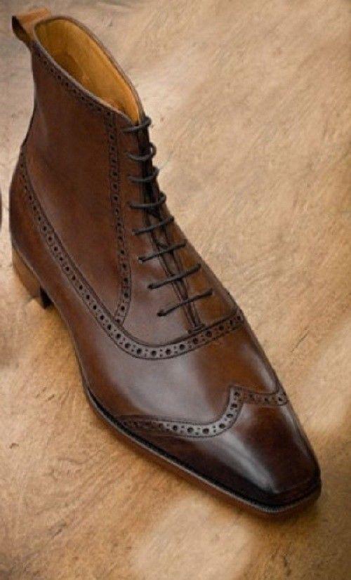 63ee2682050 Details about Handmade Men wing tip brogue ankle boot Men brown ...