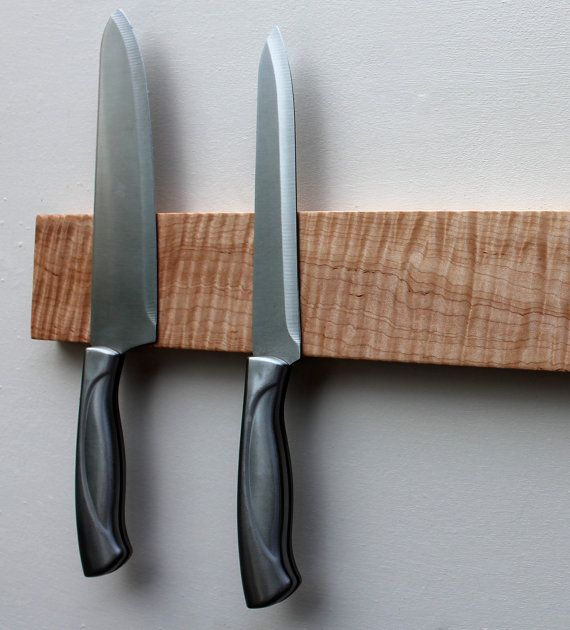 Tiger Maple Knife Rack Magnetic Knife Rack Knife By NordenDesigns