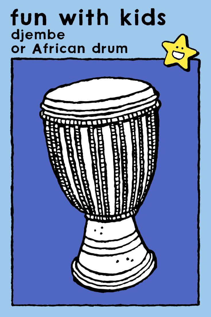djembe or african drumcoloring pages kids music