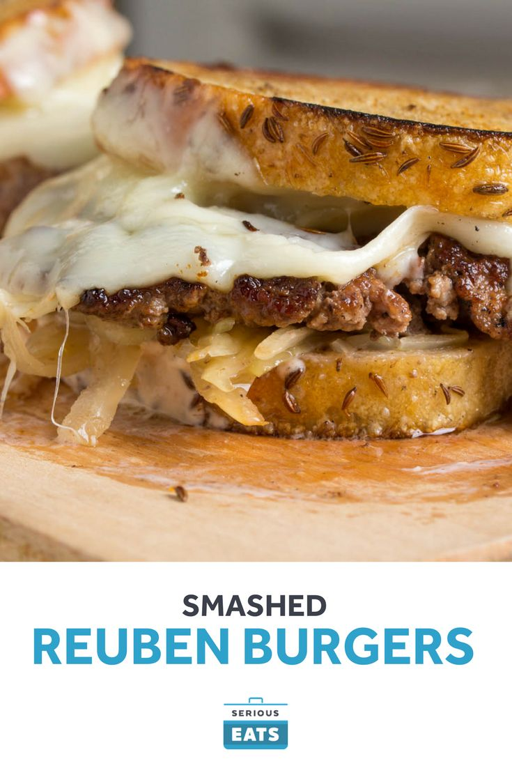 Our smashed burger technique can be served with more than just American cheese. Here we use it to make a Reuben-inspired hybrid burger.