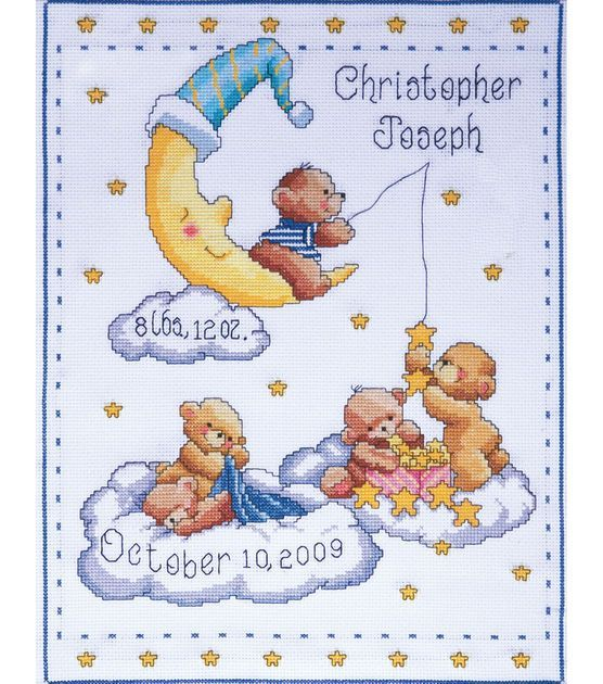 Tobin Bears In Clouds Birth Record Counted Cross Stitch Kit: