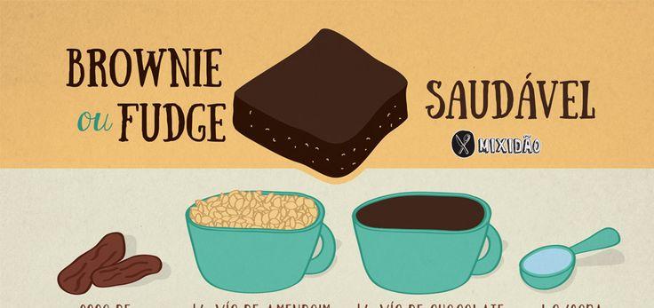 Que tal uma receita de Brownie Saudável com três ingredientes e que não vai ao forno. Um doce muito fácil e rápido de fazer.