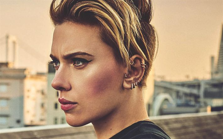 Download wallpapers Scarlett Johansson, 4k, 2017, portrait, american actress, make-up, beautiful woman, short haircut for women