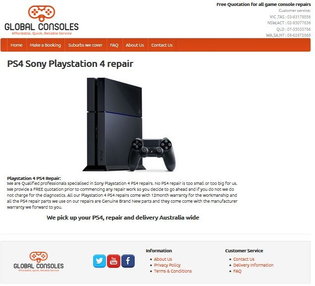 Playstation 4 PS4 repair center Australia wide repairs