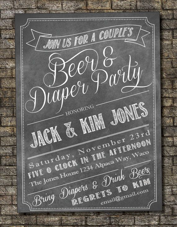 Beer and Diaper Party Invitation, Baby Shower Invitation, Couples Shower Invitation, Chalkboard Happy Hour Baby Shower 5x7  Custom Printable