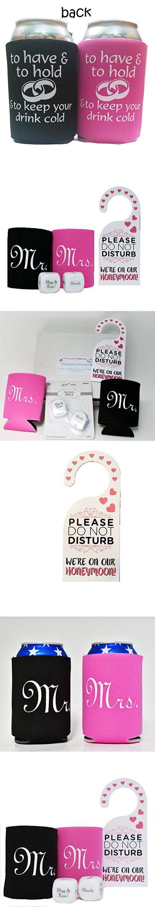 Honeymoon Survival Kit - Bride and Groom Cup Holders, Honeymoon Decision Dice and Do Not Disturb Door Hanger (Bundle of 3 Items)