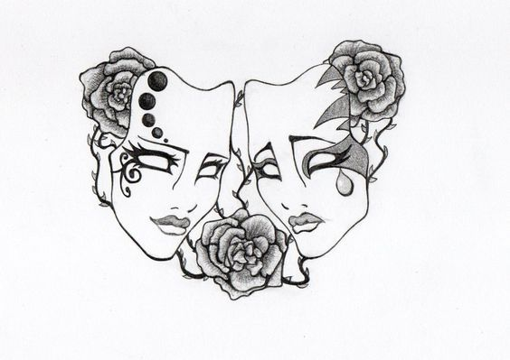 paisley comedy tragedy masks tattoo - Google Search