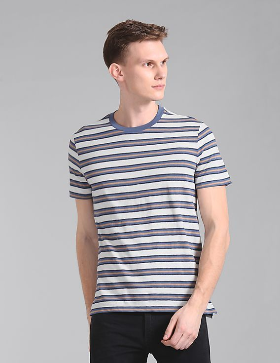 a7da678011 Slim fit / round neck / short sleeve / t-shirt / with white blue & brown  colou horizontal stripes for men