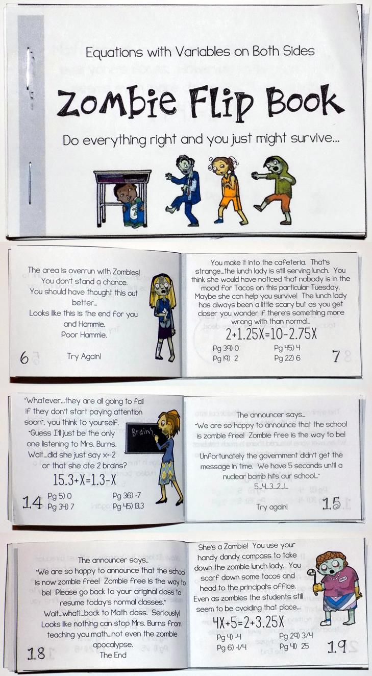 This Equations with Variables on Both Sides Zombie Flip Book would be such a fun activity for my 8th Grade Math or Algebra students.  This would be a great end of year or test prep activity too!