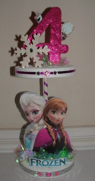 FROZEN Anna & Elsa 2 Tier CENTERPIECE w/ Olaf and Sven by JKkidz, $29.95