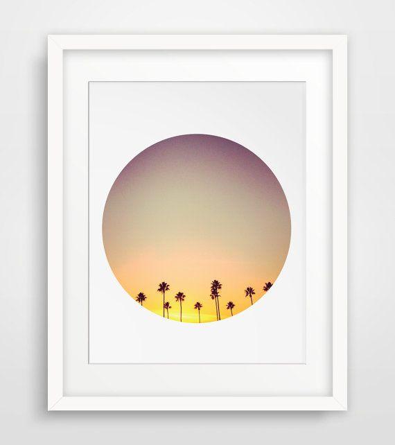 Palm Tree Art, California Palm Photo, Palm Tree Print, Palm Tree California, Circle California Wall Art, Palm Trees Wall Print, Sunset Art #palmprints
