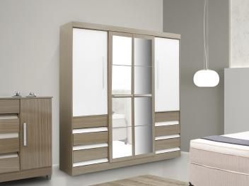 Guarda-roupa Casal 4 Portas com Espelho 6 Gavetas - Araplac Sofia