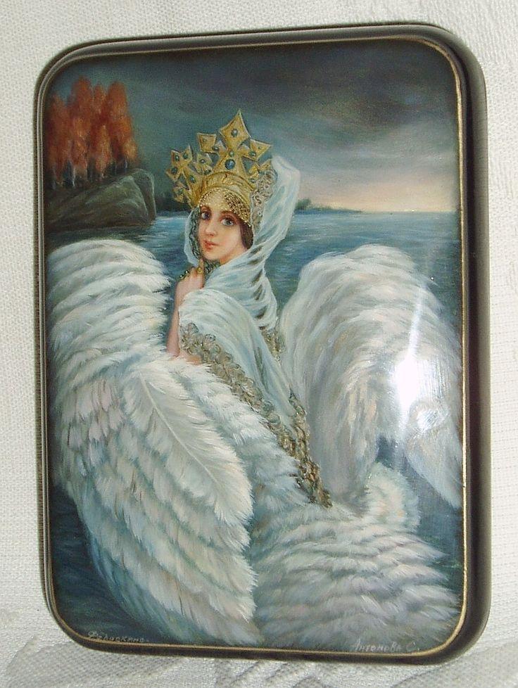 "Russian Lacquer Box Fedoskino "" Swan Princess "" Miniature Hand Painted"