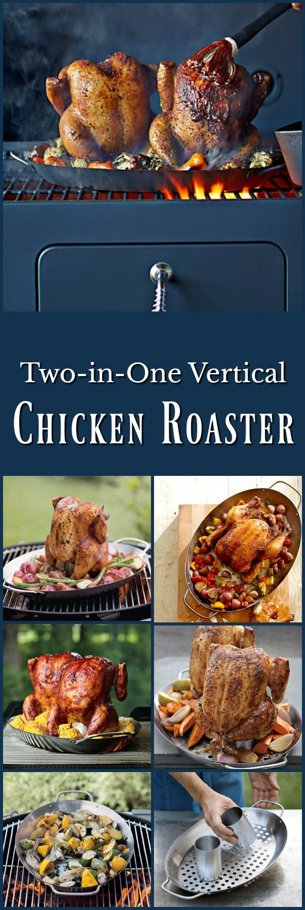 Two in One Vertical Chicken Roaster - Grill one or two whole chickens at the same time with this versatile roaster. #grilling #ad #chickendinner