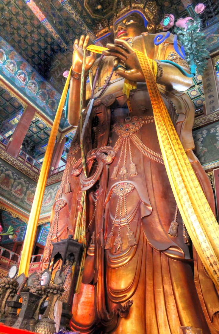 The Lama Temple In Beijing China This Statue Of The