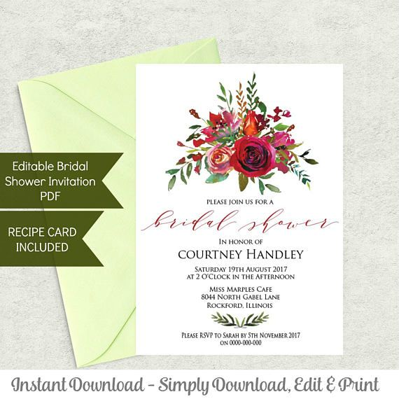 Printable Bridal Shower Invitation Template and Recipe Card