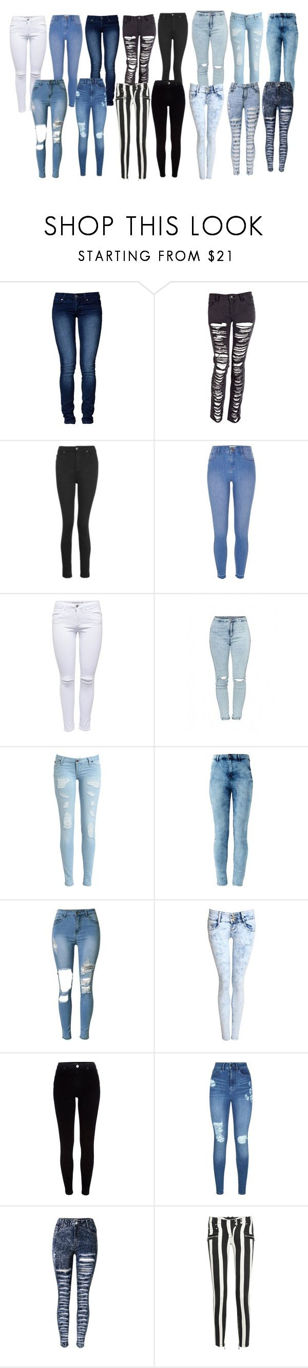 """""""YouTube idea: jean haul"""" by selinalindroth ❤ liked on Polyvore featuring Cheap Monday, Topshop, River Island, Lipsy, Pilot and Balmain"""