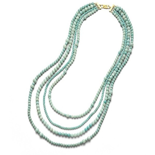 4 Strand Beaded Stone Necklace found on Polyvore