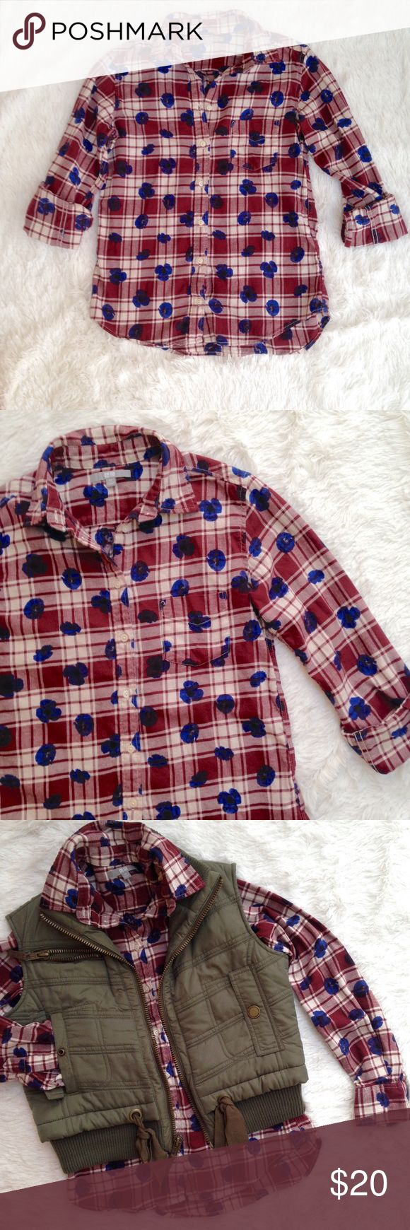 "Uniqlo Plaid Peony Flannel Long Sleeve Shirt Uniqlo Plaid Peony Flannel Button Up Oxford Shirt. Cuffed sleeves for design. Deep red/blue/white. 100% cotton. Gently used condition with no flaws. Measurements: Length 24"", Bust 18"". Uniqlo Tops Button Down Shirts"