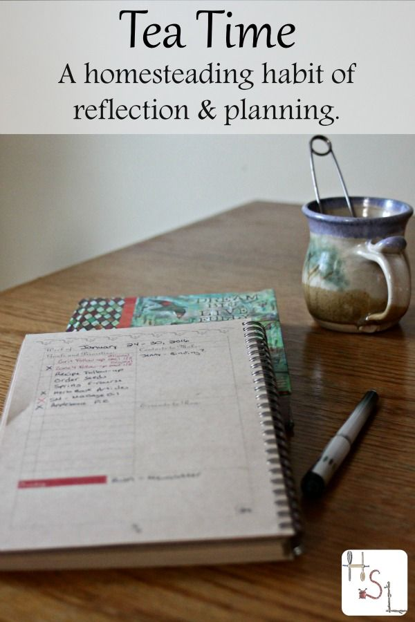 If you're trying to find some gratitude while also recording important homestead happenings and getting more organized, try creating a tea time habit for homesteading reflection and planning.