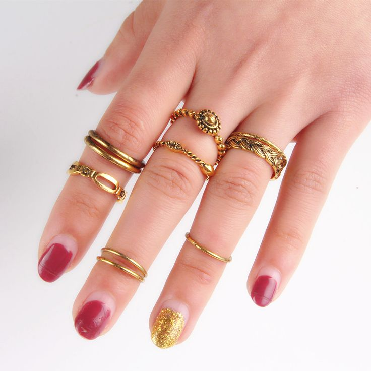 Fashion Punk Ring Set Antique Gold or Silver Boho Hippie Knuckle Rings US Size 6 1D1004 #Affiliate