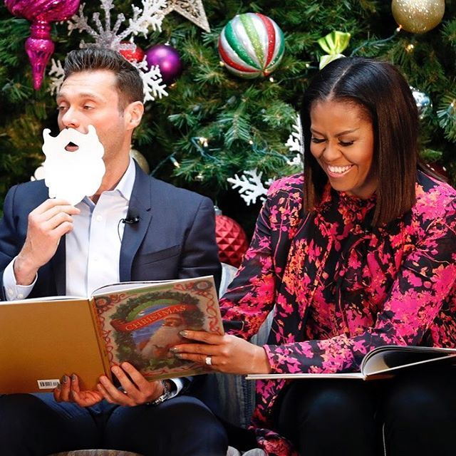 "First lady @michelleobama and @ryanseacrest read ""Twas the Night Before Christmas,"" during a holiday event at Children's National hospital in Washington, D.C. #FirstLady #FLOTUS #MichelleObama #WashingtonDC #Christmas #holidayseason (AP Photo/Alex Brandon)"