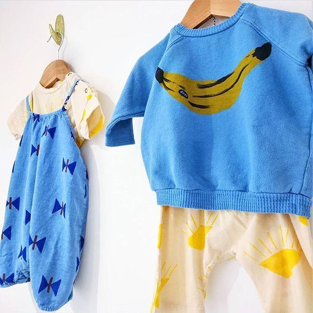 d3cc398dc6b Bobo Choses Never Ending Summer. SS18. Banana Print Sweater. BUtterfly  Print Romper  KidsFashionStore