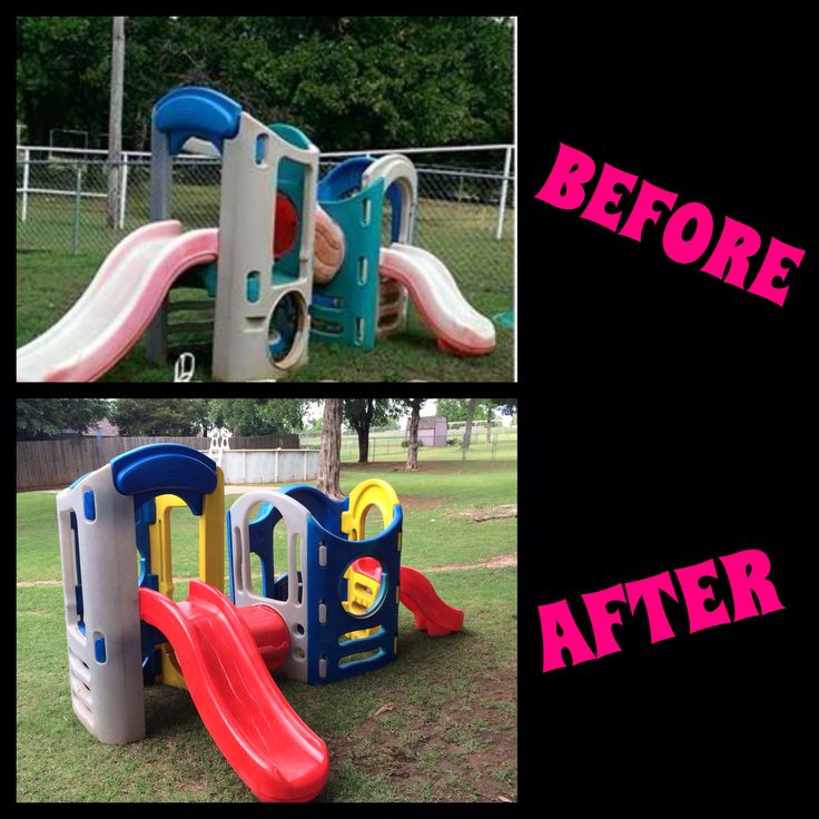 Repaint little tikes play set before and after i used for Little tikes outdoor playset