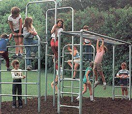 metal jungle gym :) no plastic here