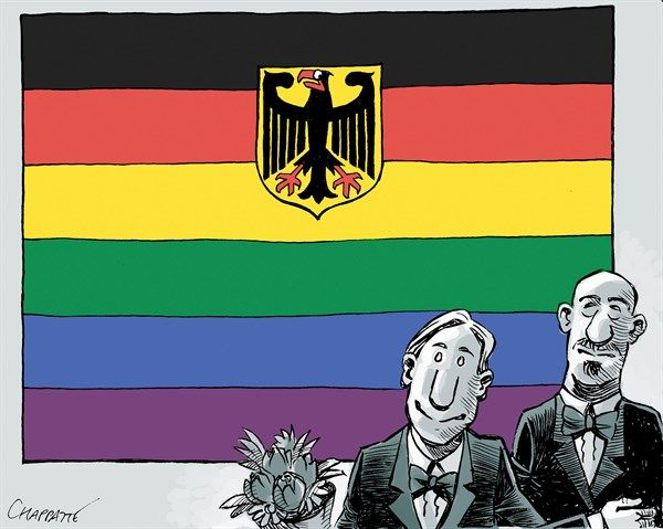 Patrick Chappatte - Le Temps, Switzerland - Germany approves same-sex marriage - English - Germany, Homosexuality, Law, Marriage, social
