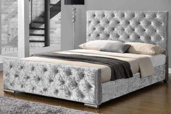 Buckingham Silver Crushed Velvet Fabric Upholstered Double King Size Bed Frame Velvet Bed Frame Upholstered Bed Frame Fabric Upholstered Bed