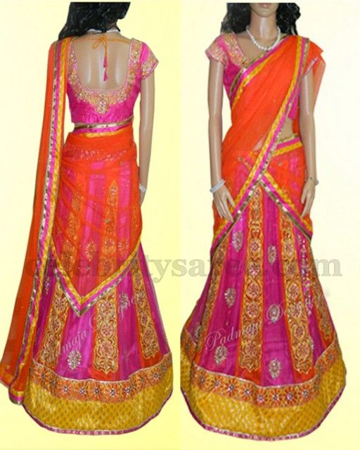 Lehenga for Half Saree Ceremony   Saree Blouse Patterns