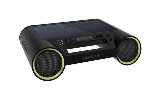 The Etón Rukus Solar is a portable Bluetooth sound system with solar panel that keeps the music going all day. The low-power E Ink display provides instant, at-a-glance information, including Bluetooth connectivity, solar charge indicator and battery strength. Unlike traditional LCD screens which require constant energy to retain an image, the bi-stability of E Ink enables information to be displayed without draining the battery.