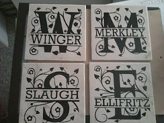vinyl monogram on ceramic tiles - <3 this!