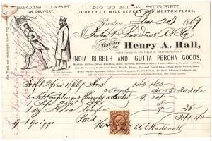 Illustrated Billhead for Henry A. Hall India Rubber and Gutta Percha Goods with U.S. Revenue Stamp