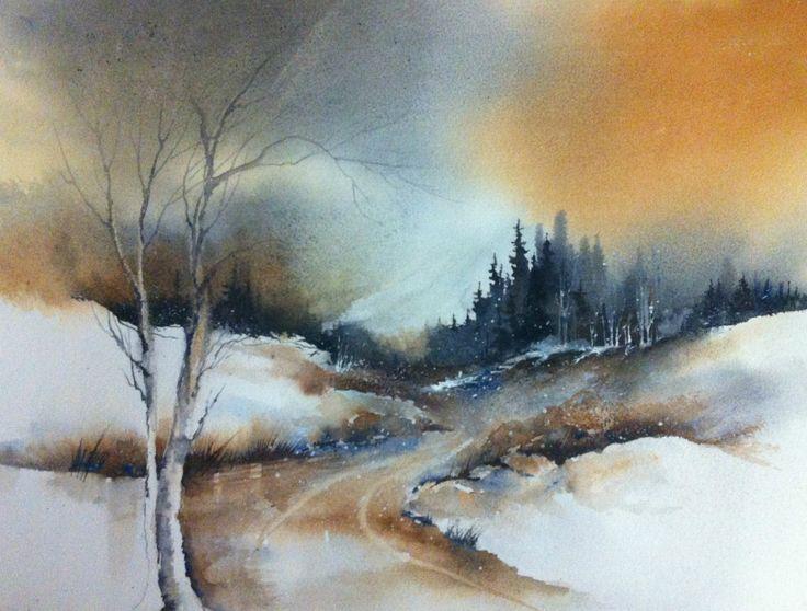 Watercolor landscape -  www.hannajakobsen.net