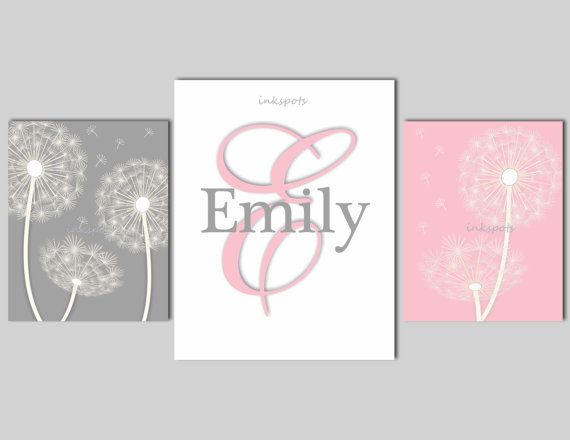Dandelion Nursery Decor Girls Dandelion Wall Art Dandelion Nursery Bedding Art Monogram - Choose Colors - by inkspots