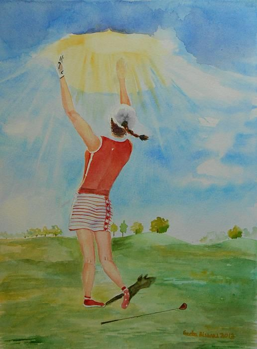 #golf #original #art Highest Calling is #God Next #Golf - #watercolor by #GeetaBiswas #concept #painting #artprint at $27 #ladies #woman #golfer #humor #stance #swing #apparel #shoes #club #golfing #gift #sport #game #athlete