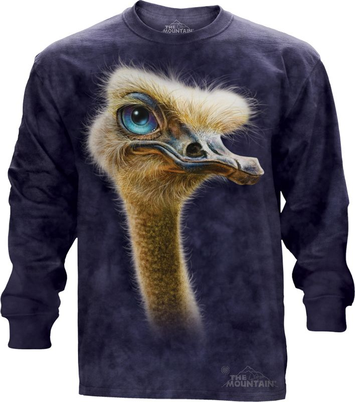 Big Face Ostrich Totem Long Sleeve Tee @Click image to purchase