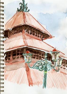 Masjid Gedhe Kauman Yogyakarta.  Pensil dan cat air pada buku sketsa.