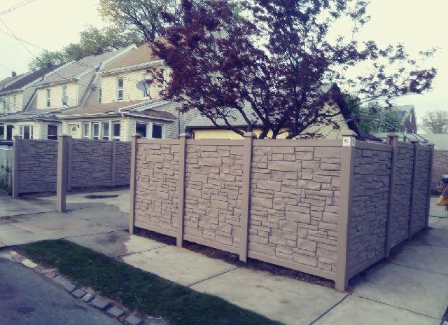 72 Brown Vinyl Stone Privacy Fences Gates And Railings Vinyl Stone Fence