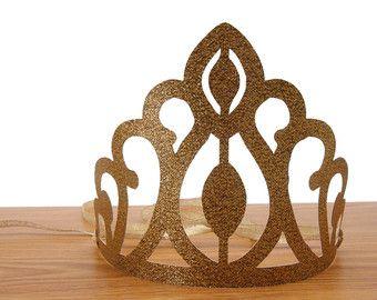 Glitter oro corona Clips Tiara corona d'oro di ModParty su Etsy