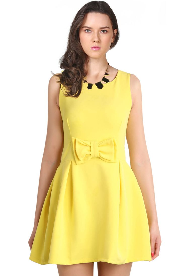 Yellow Round Neck Sleeveless Bow Dress