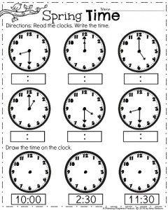 First Grade Clock Worksheets - Spring Math Worksheets for April.