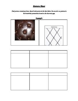 I use this handout to get students inspired. I have them record patterns they find in their environment and have them create doodles that are inspired by them.